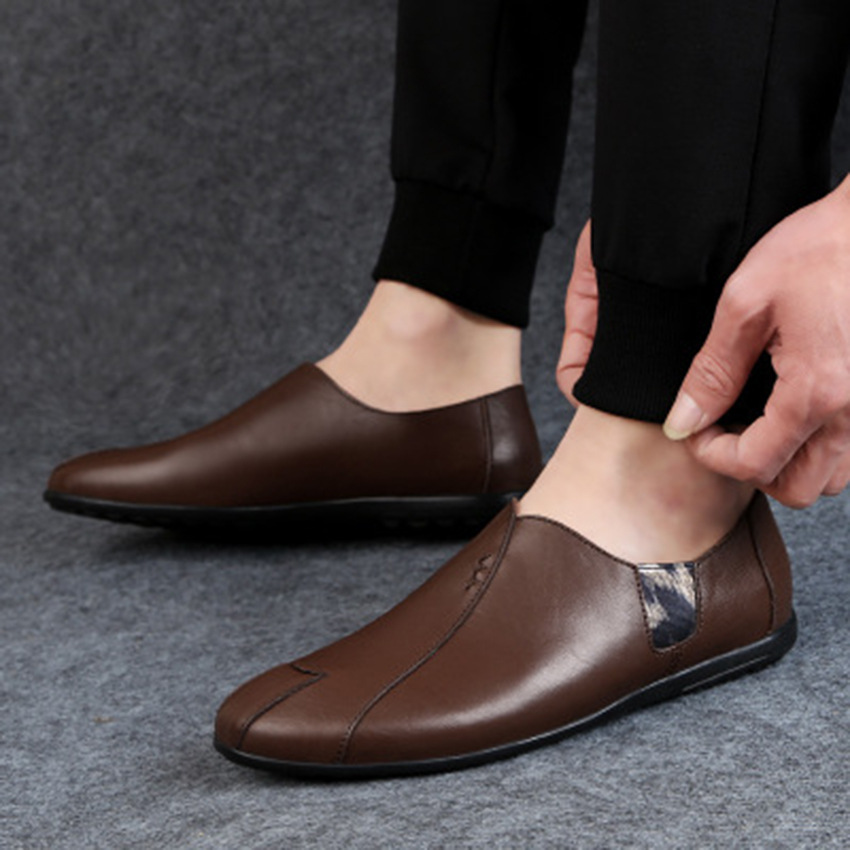 Solid Spring Autumm Casual Loafers Shoes for Men Classics Concise Light Flat Slip On Shoes Fashion Leisure Driving Shoes 40