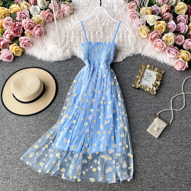 Slip Dress Long Mesh Floral Dress Women Vintage Elegant Sexy Beach Dresses Woman Party Night 2020 Korean Kawaii Ruffle Backless
