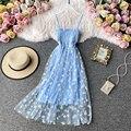 Платье-комбинация с кружевом длинное Сетчатое платье с цветочным рисунком для женщин в винтажном стиле; Элегантные пикантные пляжные плать...