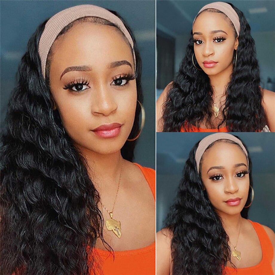 Headband Wig  Deep Wave Afro  Full Machine Made Curly Headband Wig  Water Wave  Wigs 2