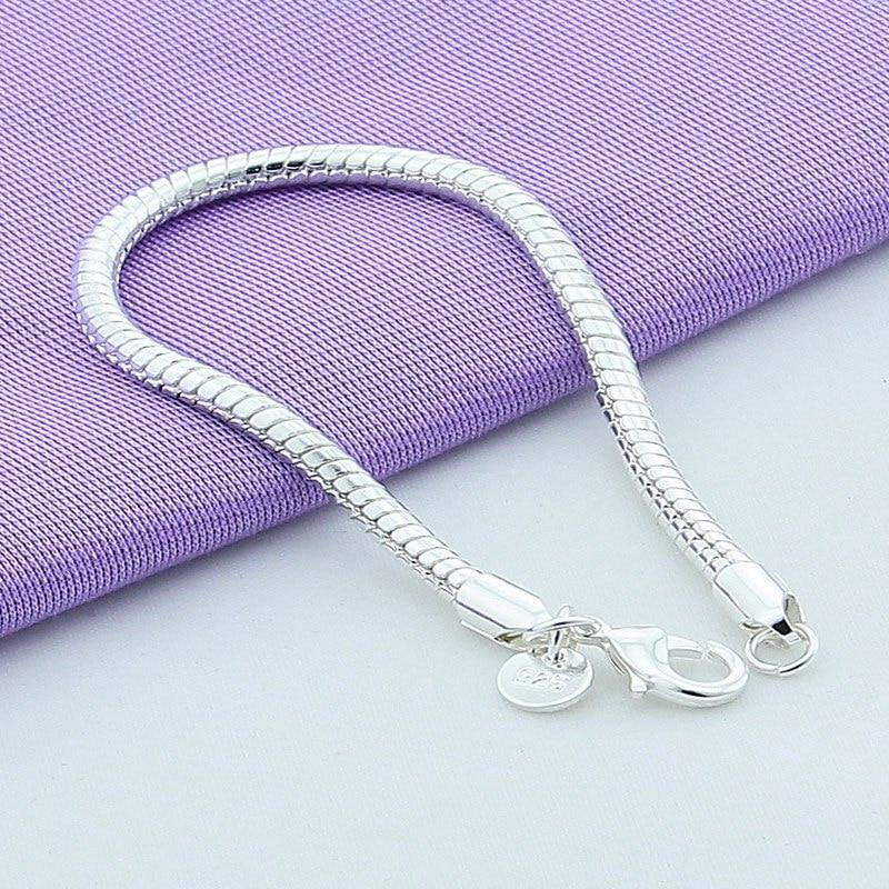 Shitje e nxehtë 925 byzylyk zinxhir gjarpër argjendi 4 mm për - Bizhuteri të modës - Foto 2