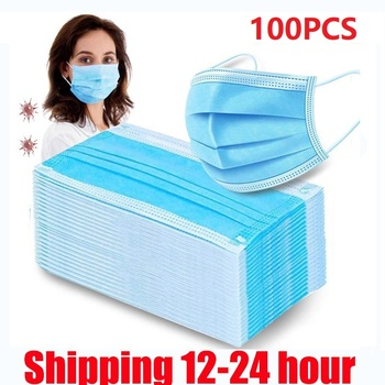 Fast delivery Hot Sale 3-layer mask 100pcs Face Mouth Masks Non Woven Disposable Anti-Dust Masks Earloops Masks