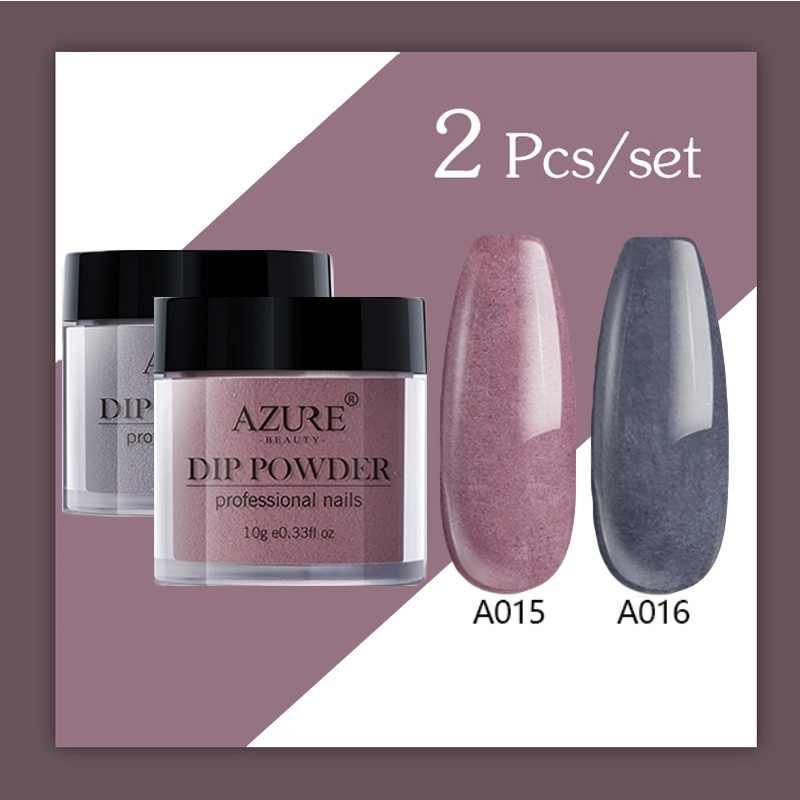 Azure Beauty 2 Pcs/lot Glitter DIP Bubuk Seni Menghias Kuku Mengkilap Kuku Bubuk Tahan Lama Holo Bubuk Rendam Off Base Top penggerak Bubuk