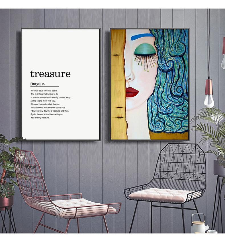 Simple ANSTRACT visage blanc fleur anglais mot maman papa amour moderne mur Art photo toile peinture pour porche salon décor