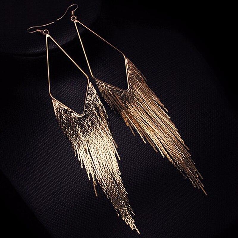 Fashion Gold Color Long Tassel Earrings Jewelry Vintage Metal Statement Fringe Earrings Charm Drop Dangle Big Earing for Women