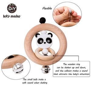 Image 3 - Lets Make Baby Toys Rattles For Newborns Bed Bell Wooden Ring 0 12 Months Beech 1PC Animal Panda Wood Teether Educational Toys