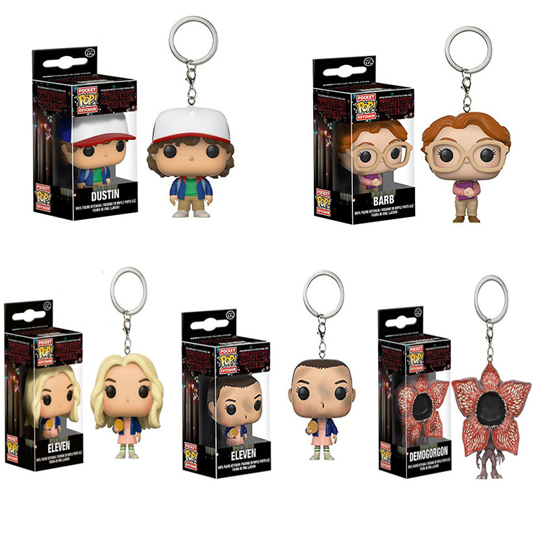 Funko Pop Pocket Stranger Things Keychain Eleven Dustin Barb Demogorgon Original Box Action Figures Toys