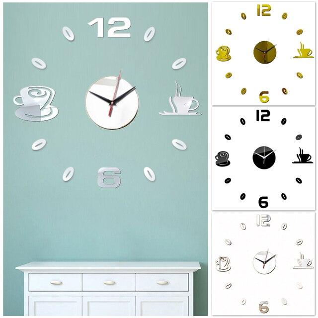 Креативные зеркальные настенные часы для кофе самоклеящиеся