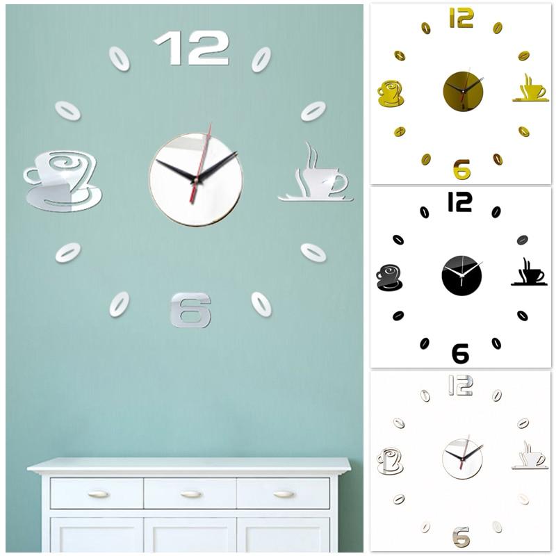 Купить креативные зеркальные настенные часы для кофе самоклеящиеся