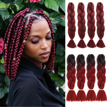 Braiding-Hair Synthetic-Hair-Extension Jumbo Afro Black Alororo Ombre for 24-Inches Red