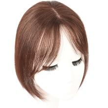 Бразильские человеческие волосы на клипсах, объемные воздушные челки для женщин, невидимые бесшовные волосы Remy, сменный парик