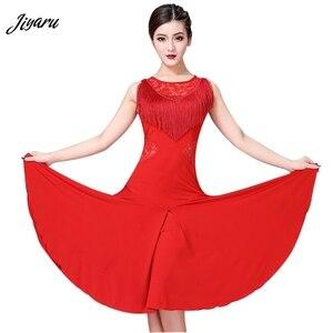 Image 1 - Vestido de baile latino para mujer, Ropa de baile con borlas/Tango/Rumba/traje de baile latino sin mangas, vestido de baile de competencia Latino