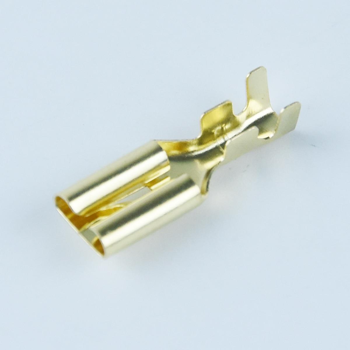 25 PCS Gold Tone Male Spade Crimp Terminals 7.8mm Wiring Connectors