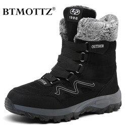 Botas de inverno botas de couro de camurça botas de neve botas de trabalho de inverno homens botas de tornozelo de pele militar para homens sapatilhas btmottz