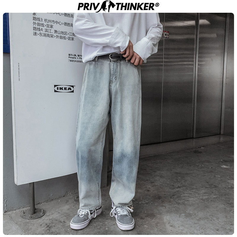 Privathinker Men Oversize Street-style Casual Full-Length Denim Pants 2019 Me's Autumn Wide Leg Pant Male Korean Vintage Jeans