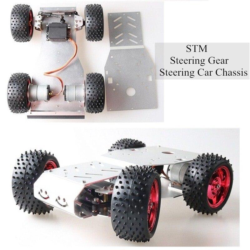 Moteur à engrenages STM 32, châssis de voiture RC intelligente 4WD, modèle de Robot à deux roues motrices, cadre métallique, moteur à courant continu