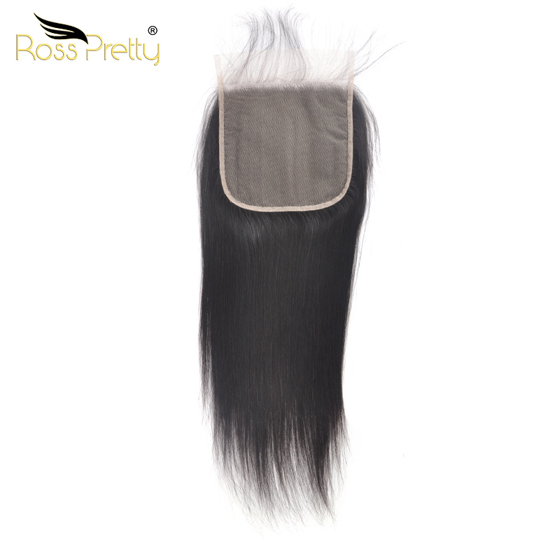 Lace Closure 6x6 Peruvian Straight hair Pre Plucked Light Brown Transparent Remy Human Natural Color Black