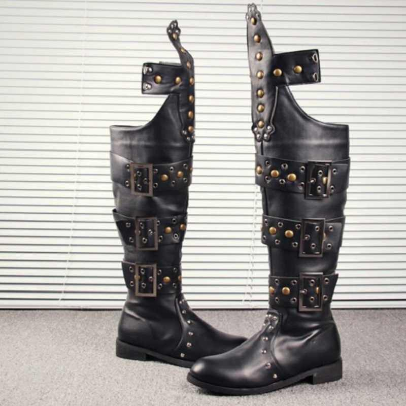 Men Military Combat Metal Force Leather Motorcycle Punk Rivet Knee High Boots