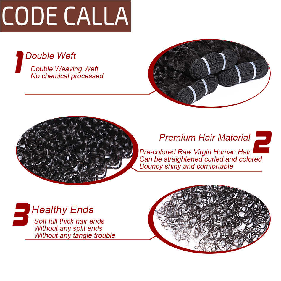 Code Calla Kinky Curly Bundles 100%  Remy Brazilian Human Hair Extension 3/4 Bundles Deals Can Make A Style Natural Black Color