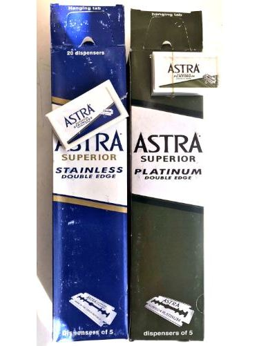 VINTAGE Souvenir 1980-2000 200 Piece Old Astra Superior Platinum Double Edge Safety Razor Blades GREEN AND BLUE PACK