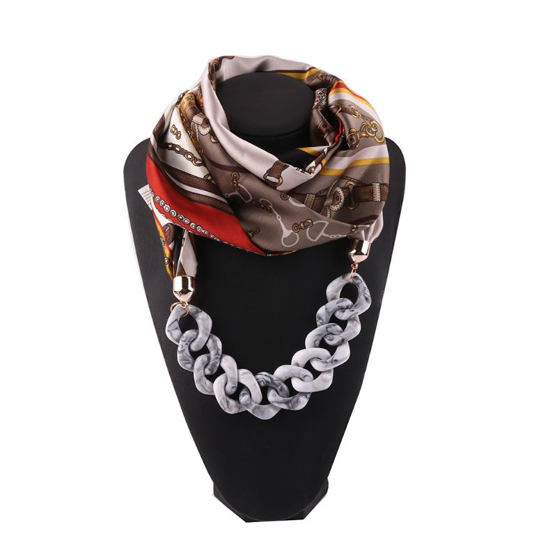 Women Ethnic Retro Neckerchief Infinity Scarf With Chain Pendant Colored Polka Dot Feather Print Imitation Silk Jewelry Necklace