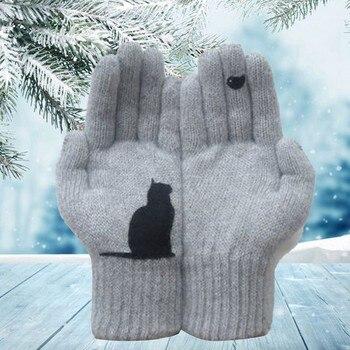 Drop Shipping Women Gloves Cartoon Cat Bird Autumn Winter Warm Cashmere Thick Cute Fashion New Outdoor Cycling