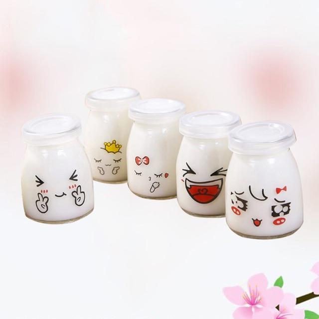 Bouteille à pouding en verre de 150ml, conteneurs de yaourt résistant à la chaleur, tasse de lait à gelée pour magasin à domicile, 10 pièces