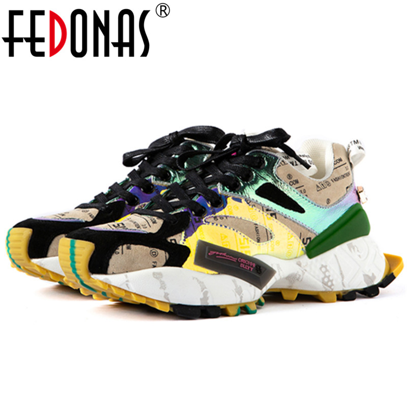 FEDONAS Fashion Mixed Colors Women Shallow Sneakers Spring Newest Genuine Leather Women Flats Comfortable Casual Shoes Woman