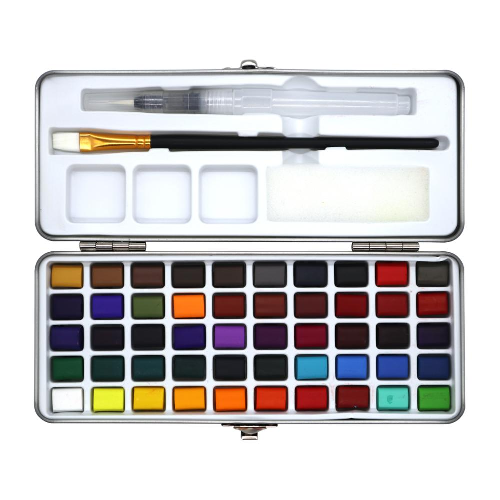 New Arrival 50Color Transparent Solid Watercolor Portable Watercolor Pigment for Kids Drawing Watercolor Paper Supplies