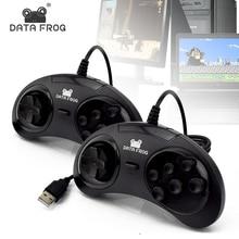 داتا الضفدع 6 أزرار تحكم للكمبيوتر USB غمبد تحكم ل سيجا 16 بت MD ألعاب على الكمبيوتر/ماك USB الألعاب المقود