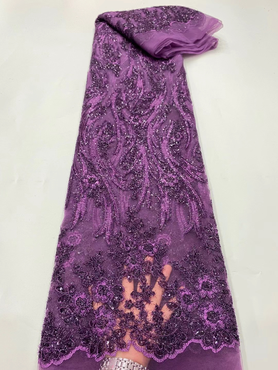 DPN18 On sale French tulle lace fabric with sequins,good quality embroidered African net lace for lady dress!