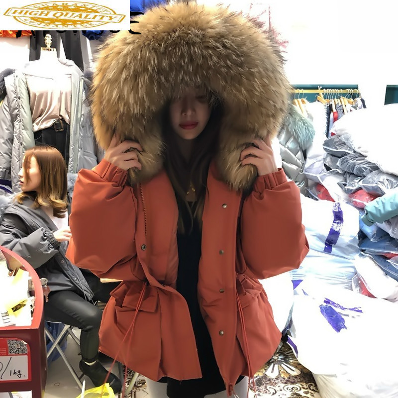 2019 New Winter Coat Women 90% White Duck Down Jacket Real Raccoon Fur Collar Puffer Jacket Women Korean Warm Parka 1888 YY1640