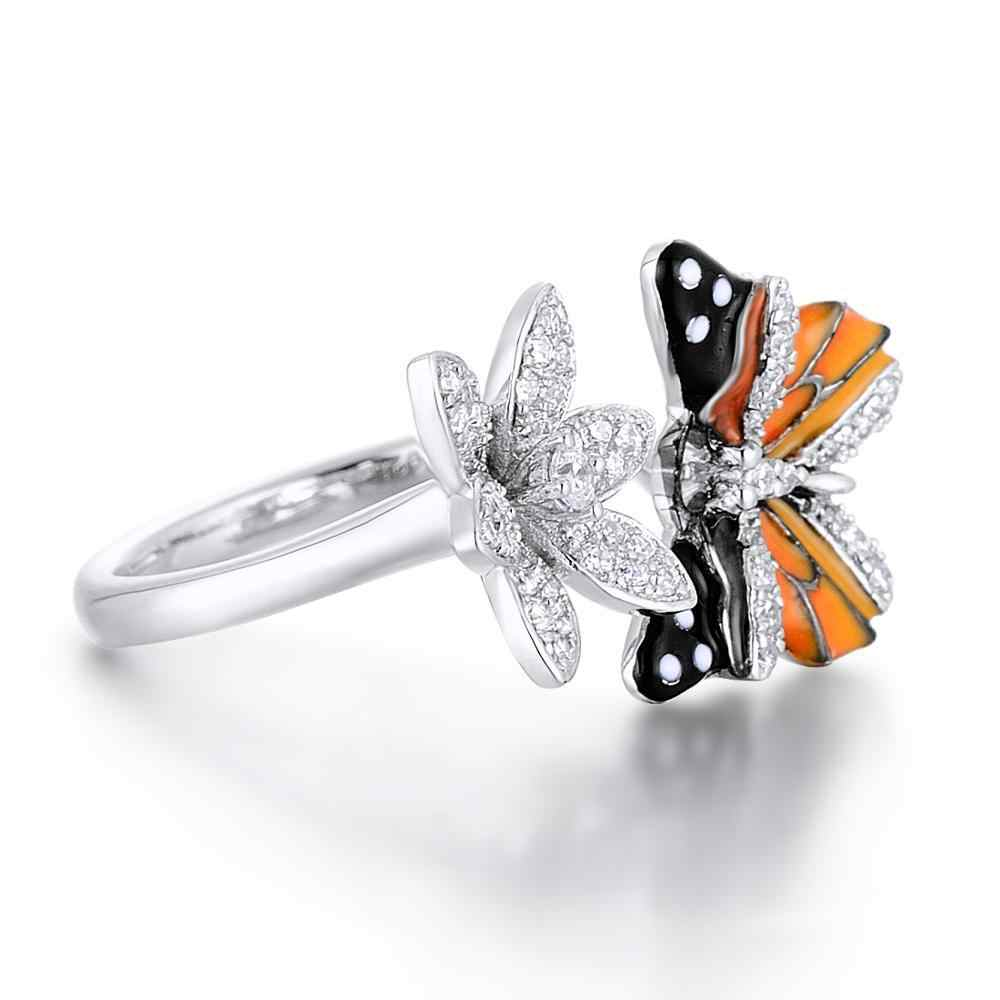 Neue handgemachte mode seide blume schmetterling S925 silber ring ohrringe ohrringe damen engagement bankett schmuck-set