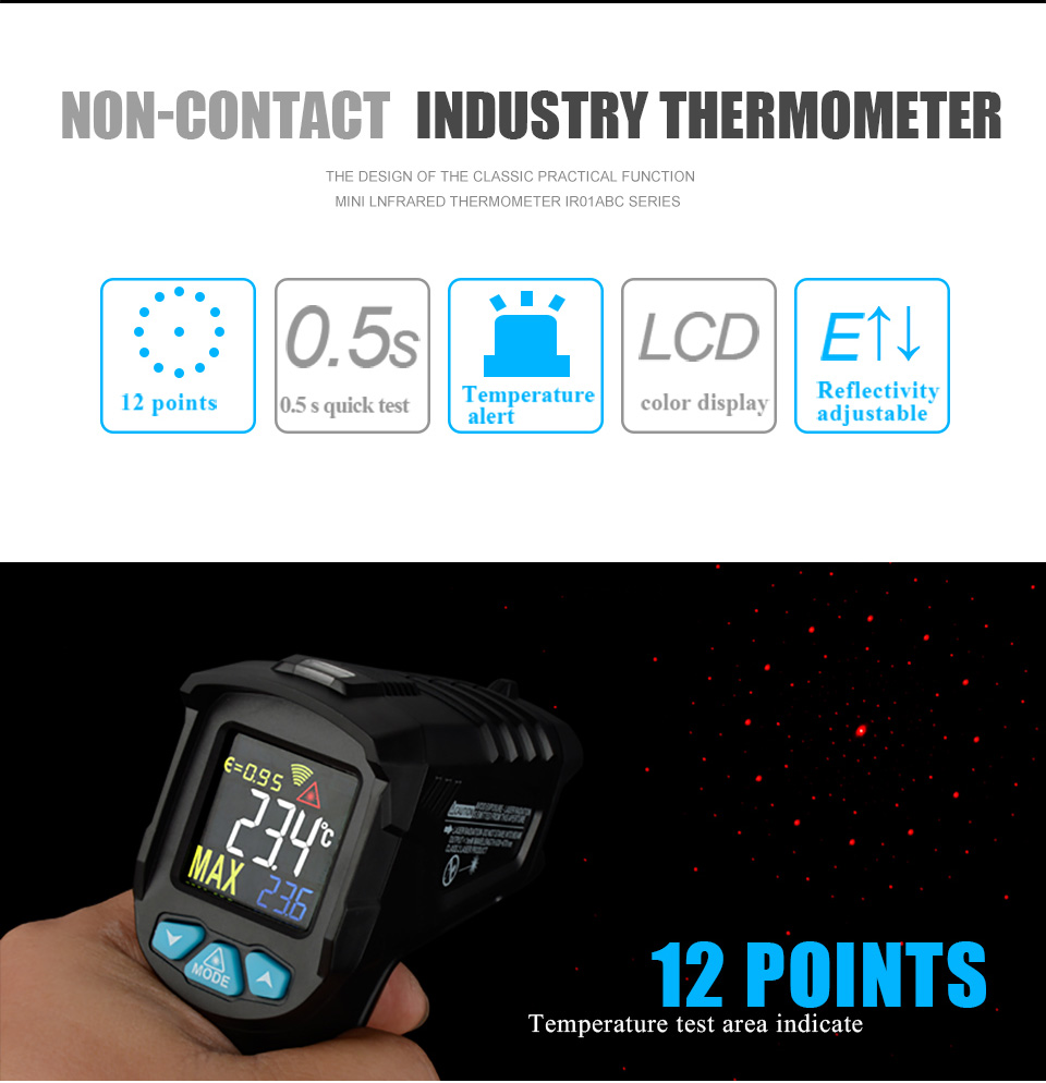 H62149d1d2ff64e218bbbdc6dde2d5944L MESTEK IR01 digital thermometer humidity meter infrared thermometer hygrometer temperature meter pyrometer Imager termometro