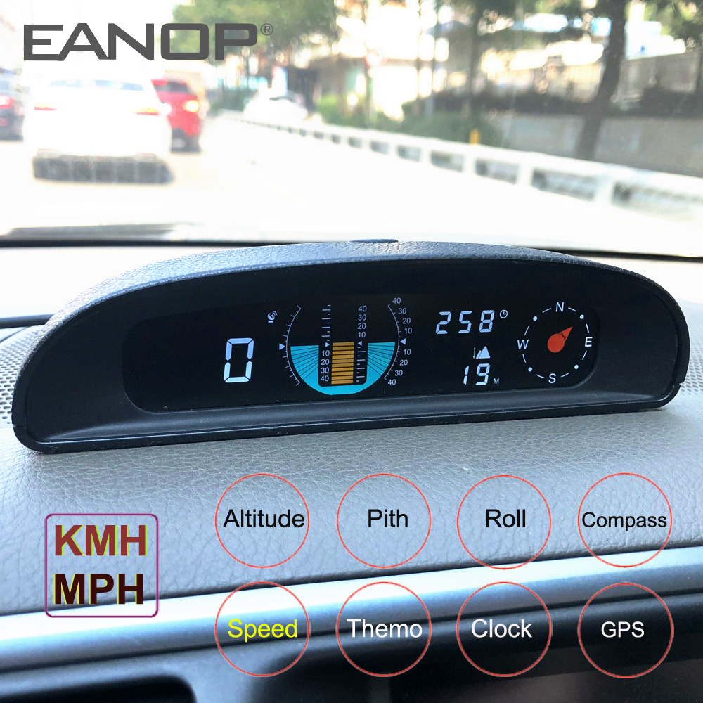 EANOP GH200 GPS HUD Head Up Display Car Speedometer Inclinometer Pitch Automotive Voltage Compass Altitude For Universal Cars