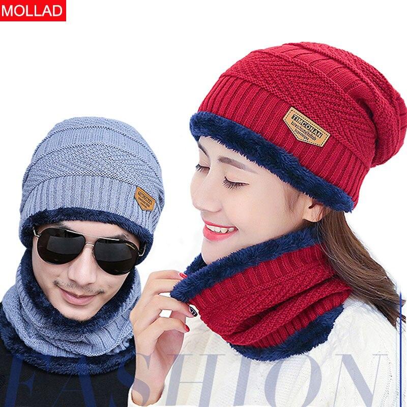 Winter Hat Scarf Unisex-Cap Velvet Knit Autumn Plus Women And Thick Suit Men Cap