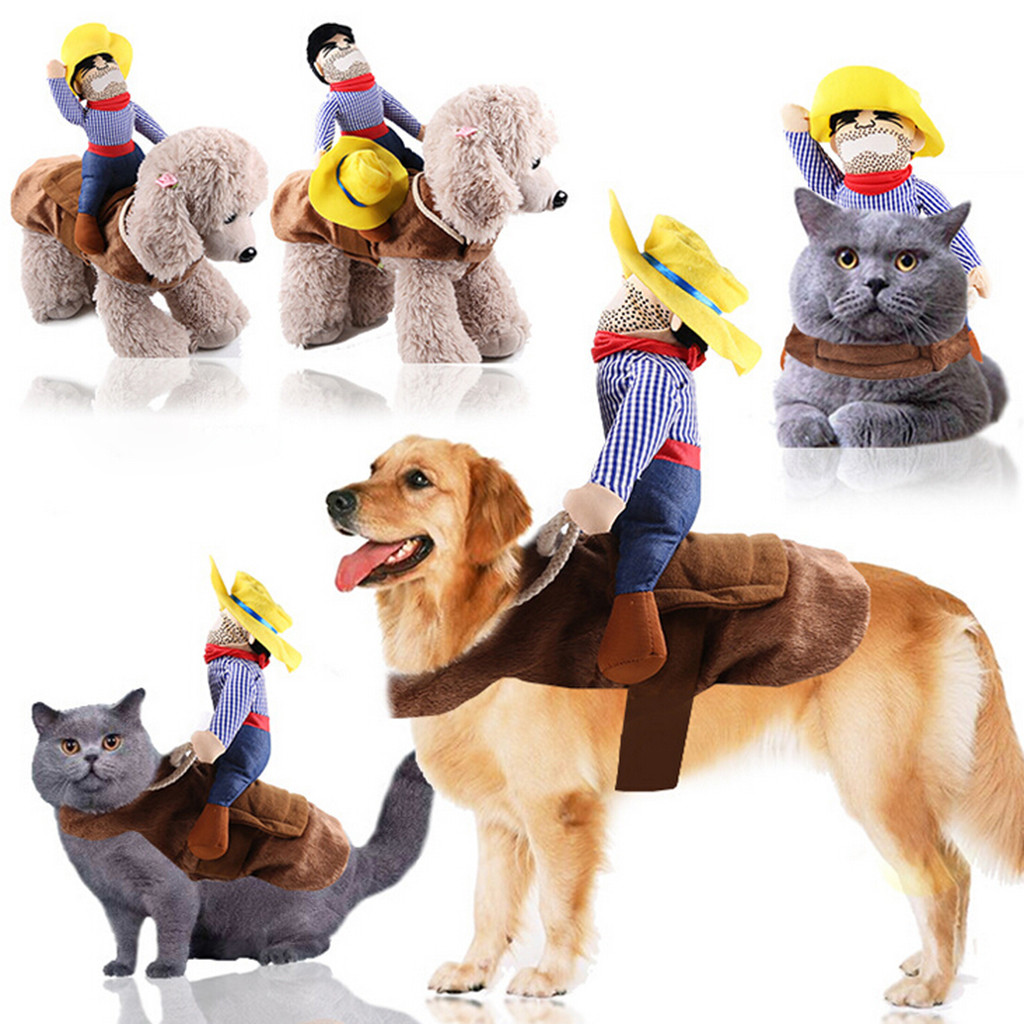 Pet Dog Costumes Cowboy Rider Coat Suit Puppy Apparel Cosplay Doggy Clothes W