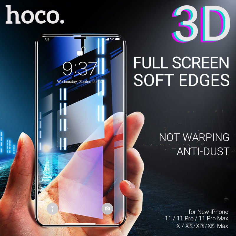 Hoco Tempered Glass For Iphone 11 Pro Max X Xr Xs Max Guard Screen Protector Anti Fingerprint Shock Proof 3D Edges Ultra Thin
