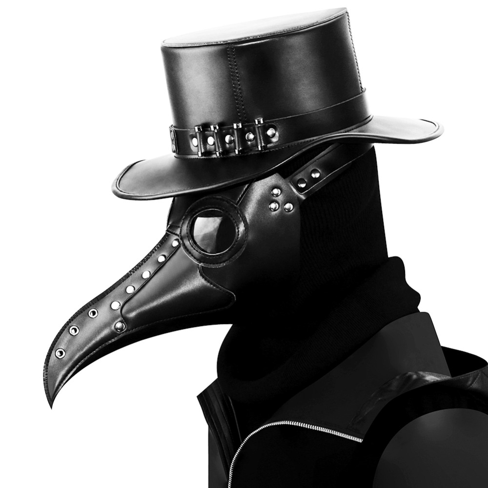 Steampunk Plague Doctor Mask Bird Long Nose Fancy Mouth Masks Cosplay Exclusive Gothic Retro Rock Leather Halloween Costume Mask