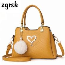 купить Ladies Handbag Korean Style Satchel Women Shoulder Bag Zipper Hairball Pu Leather Handbags Crossbody Bag Retro Bags Sac A Main онлайн