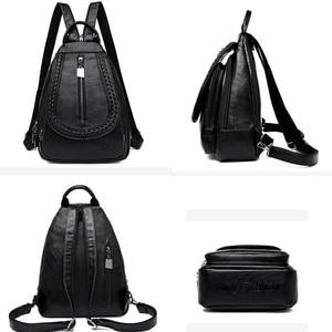 Image 5 - Kadın deri sırt çantaları yüksek kaliteli kadın sırt çantası göğüs çantası rahat günlük çanta kese Dos bayanlar sırt çantası seyahat okul sırt paketi