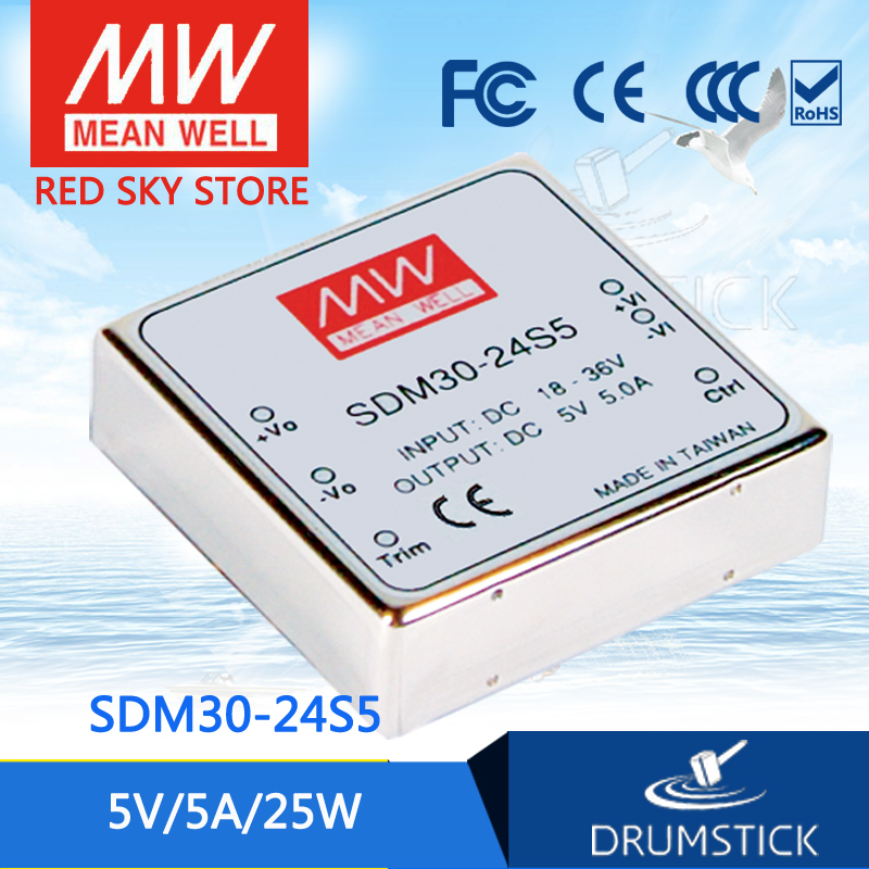 nice MEAN WELL 2Pack SDM30-24S5 5V 5A meanwell SDM30 5V 25W DC-DC Regulated Single Output Converter