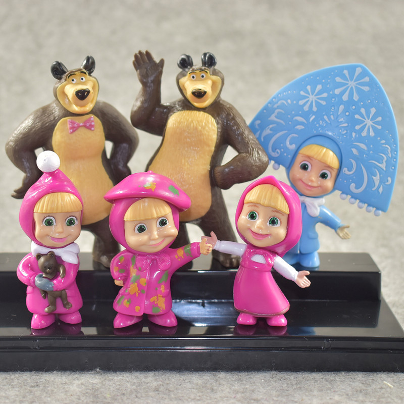 Anime Figure Toys MashaBear Cartoon Toys Birthday Gifts Bear Figures Masha Toys PVC Models 6pcs / Set