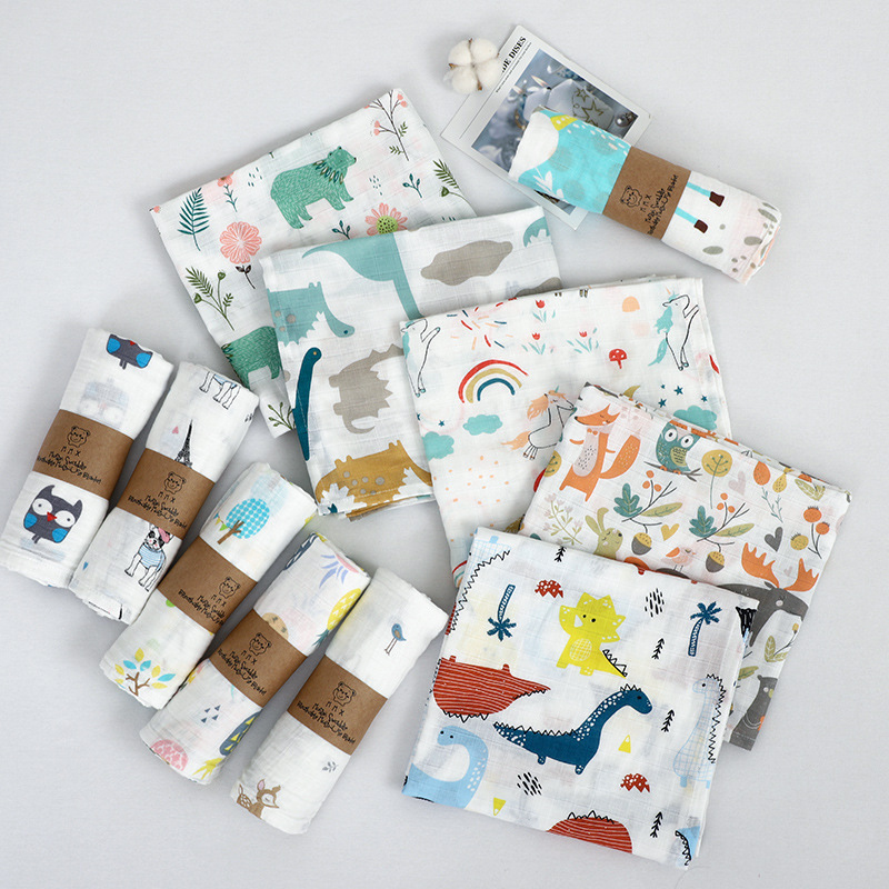 100% Cotton Baby Swaddles Soft Newborn Blankets Bath Gauze Infant Wrap Sleepsack Stroller Cover Play Mat110*120cm