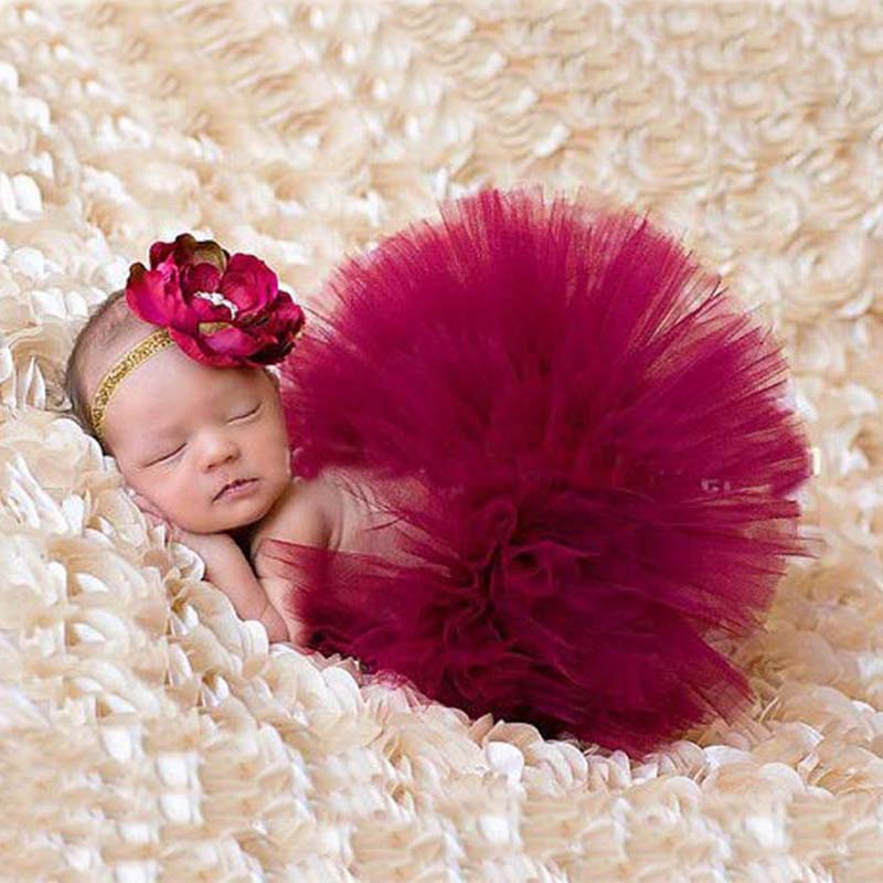 Baby Girl Newborn Headdress Flower+Tutu Skirt Costume Photo Prop Outfits