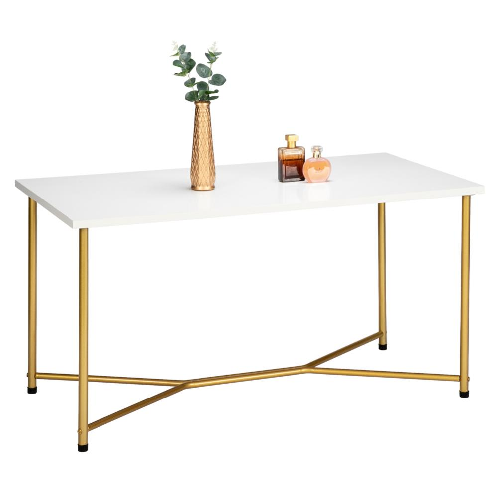 Coffee Table Single Layer 1.5cm Thick MDF Waterproof Square Tabletop Table Legs Iron Coffee Table Metal Frame Wood Texture
