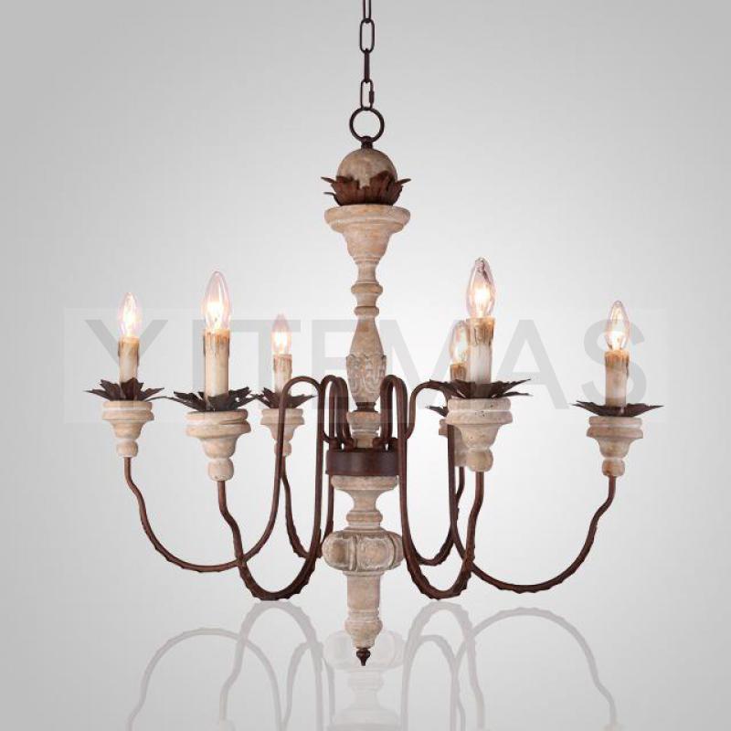 Vintage White Wood Chandelier 8 Light