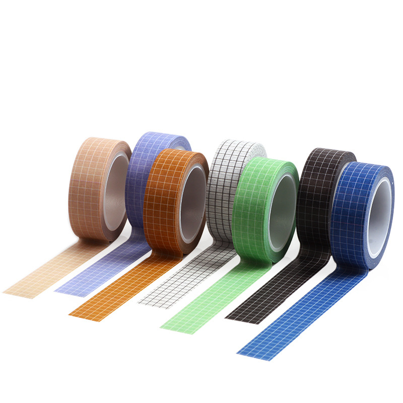 7 Colors Simple Grid Design Journal Washi Tape Planner 10 M Adhesive Tape Stickers DIY Scrapbook Paper Decorative Masking Tapes