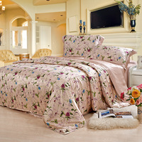 Real mulberry silk double bed cover quilt cover pillowcase luxury silk bedding 4pcs Purple Rose fashionable bedding