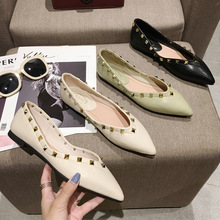 casual women shoes casual slip on flats women shoes new flock pointed toe butterfly knot ballet dancing shoes mujer zapatos w138 Luxury 2020 Women Shoes Ballet Flats Pointed Rivet Casual Solid Shoes Woman Slip-On Soft Bottom Zapatos De Mujer Ladies Shoes